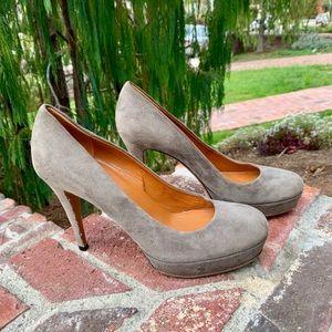 Sexy Gucci Platform Heels Taupe Suede 37.5
